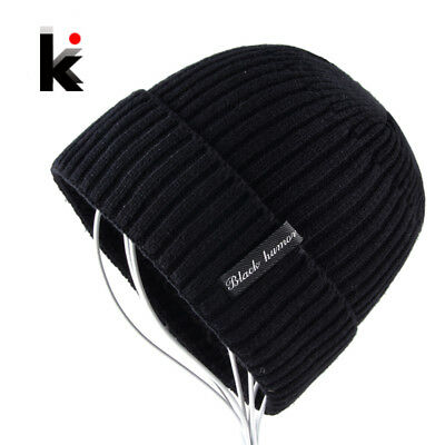 2018 Winter Beanies Knitted Hat For Men Add Velvet Thick Skullies Bonnet