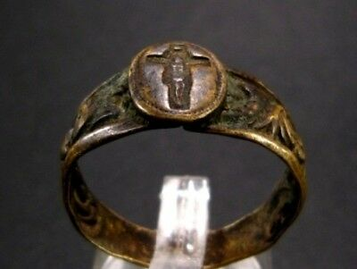 Extremely Rare Post Medieval Bronze Seal Ring, Crucifix!!!