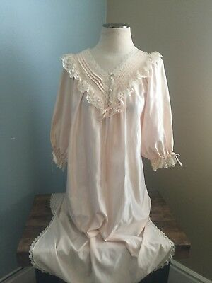 Barbizon Cuddleskin Nightgown Pale Peach Brushed Back Satin Cotton Lined Small