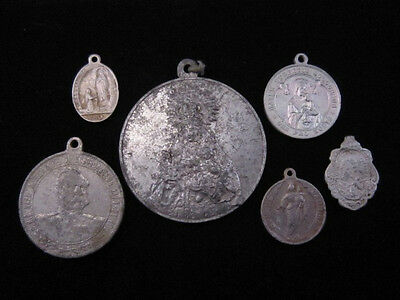 Lot Of 6 Vintage Religious Aluminum Medals & Pendants, Broad Variety!!!