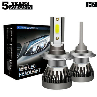 2X Super Bright H7 LED 72W Ampoule Voiture Feux Lampe Kit Phare COB 6000K 9000LM