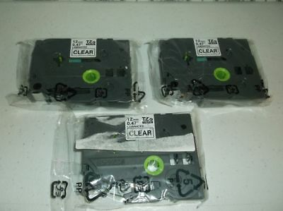 """3 Pack Brother P-Touch Genuine TZe-131 BLACK ON CLEAR Label Tape 1/2"""" (NO BOX)"""