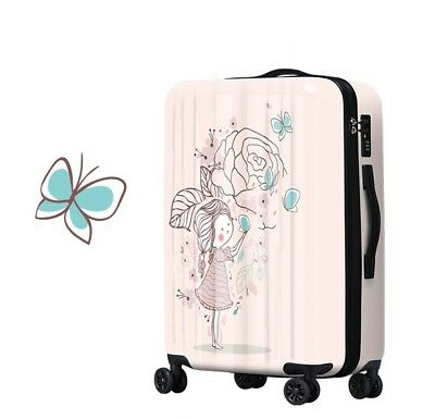E268 Lock Universal Wheel Pink Girl Flower Travel Suitcase Luggage 20 Inches W