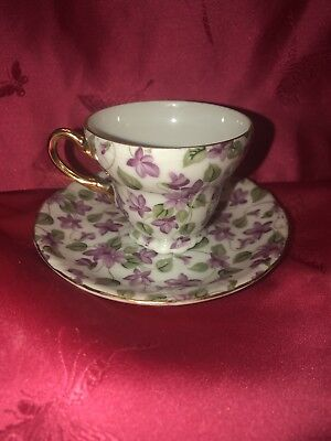 Lavender Flower Tea Cup And Saucer