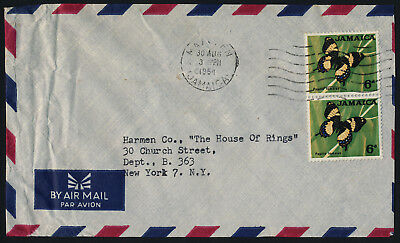 Jamaica 223 vertical pair on cover - Butterfly