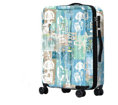E254 Lock Universal Wheel Blue Skull Travel Suitcase Luggage 24 Inches W