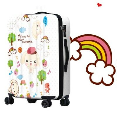 E233 Cartoon Dog Universal Wheel White Travel Suitcase Luggage 24 Inches W