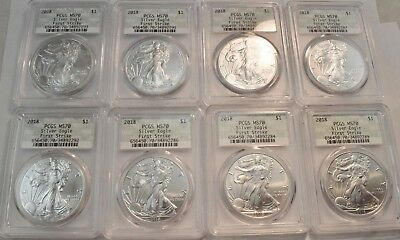 Lot of (8) 2018 PCGS $1 MS 70 American Silver Eagles Doily Holder FS 1 oz. Ounce