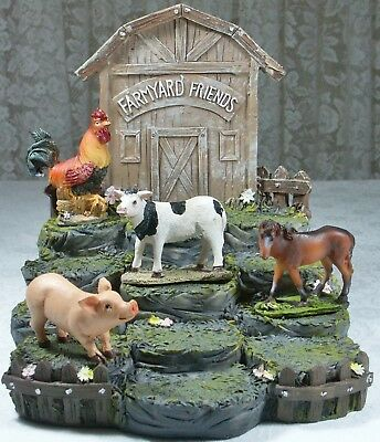 12 Farmyard Friends with Display Stand Poly Resin FARMPACK 9319844503884 NEW