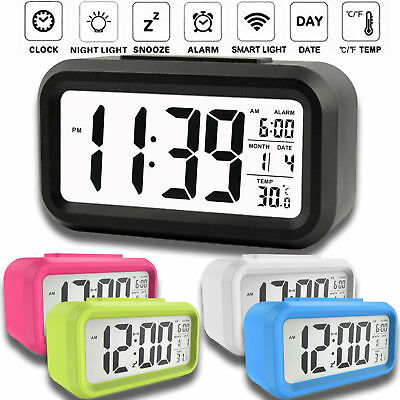 Bedroom Digital Snooze Alarm Clock LED Table Clock Time Temperature Calendar US