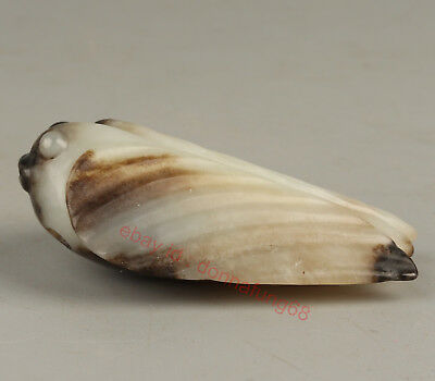 Chinese Exquisite Hand-carved cicada Carving Hetian jade statue