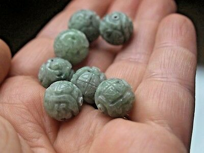 One Vintage Carved Chinese Bead Green Jadeite Jade Stone Double Shou Round 12mm
