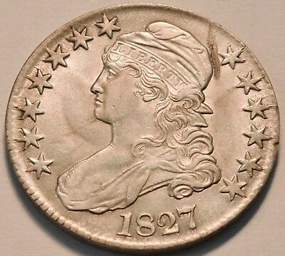 1827 Capped Bust Half Dollar, High Grade, Bright Lustrous Type Coin, Silver 50C