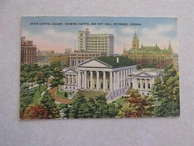 E188 Postcard State Capitol Square Showing City Hall Richmond VA Virginia