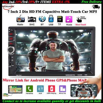 7''2Din Car MP5 FM/TF/USB/AUX Radio Stereo Bluetooth Mirror Link for Android GPS