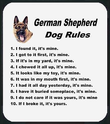 Dog Mouse Pad - Dog Rules German Shepherd - Adopt T Shirt Available Men # 35
