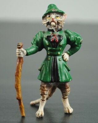 """Vienna Cold Painted Bronze Cat Green Suit With Walking Stick 2 1/2"""" Miniature"""