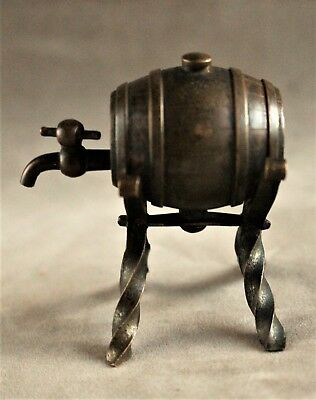 Antique Figural Miniature Bronze Wine or Whiskey Keg on Stand (French c. 1865)