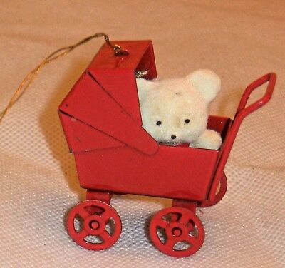 Vtg. Mini Flocked Fuzzy Teddy Bear In Red Metal Buggy Baby Carriage Ornament