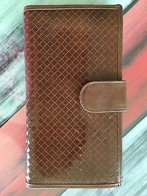 Italain woven Leather Check Book Wallet Vintage Credit ID Card Holder (1)