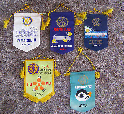 Lot of 5 Rotary Club International Banners Flags - Japan