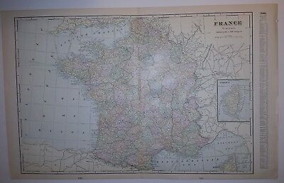 1900 FRANCE Map from Cram's Atlas Map 14 inch x 23 inch Color M4