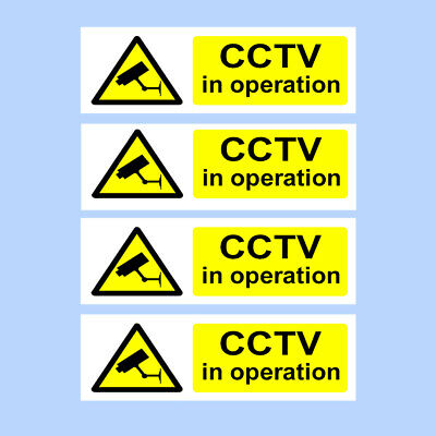 CCTV Sign, Sticker, PACK OF 4 Security, Camera, Warning, PREMIUM 150mm x 50mm