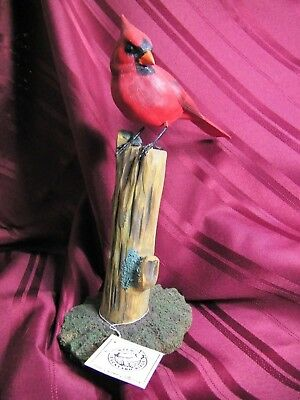 Hand Carved And Hand Painted Life Sized Red Cardinal