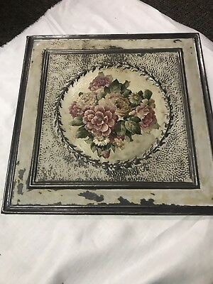 "Antique Metal Tin Ceiling Tile 21"" X 21"" painted Sheet Panel Reclaim Salvage"