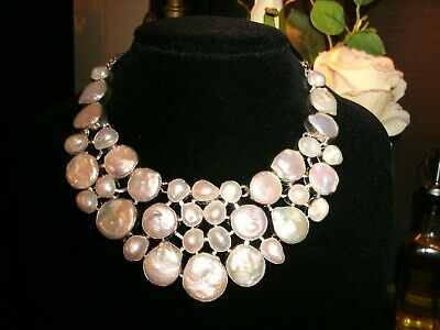 necklace coin pearl Silver PLATED Cleopatra cluster adjustable