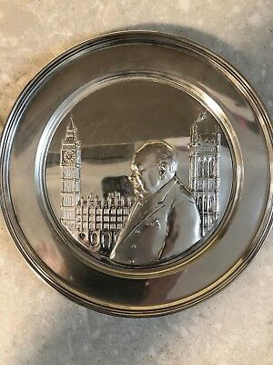 """""""The Hour of Decision"""" Solid Sterling Silver Winston Churchill Plate #"""