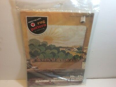 Red Heart Rug Hook Canvas Latch  Country Morning New Sealed