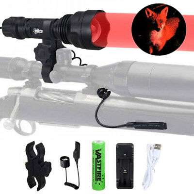 350 Yard LED Red Zoomable Flashlight Rechargeable Hunting Torch w/Rifle Gun Lamp
