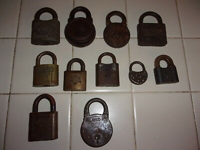 11 Antique Vintage Padlocks Locks YALE FRAIM CHAMP EUREKA + Estate Find  NO keys