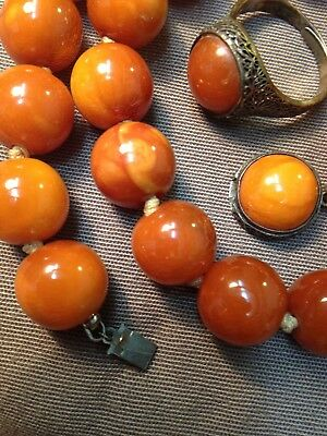CHINESE QING BALTIC BUTTERSCOTCH AMBER BEAD SILVER NECKLACE RING MALA PRAYER 36g