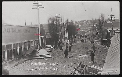 Old Photo Postcard, RPPC, Main Street View After Flood, Pullman,Washington, 1910