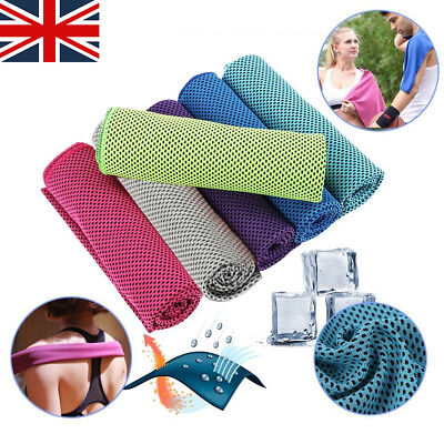 Instant Cooling Towel ICE Cold Golf Cycling Jogging Gym Sports Outdoor Towel UK