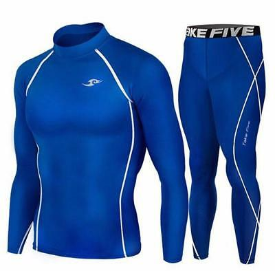 Youth Kids Blue Sports Compression Base Layer Long Sleeve Top Pants Set Take 5