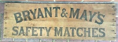 Vintage BRYANT & MAY'S SAFETY MATCHES WOODEN SIGN 96cm x 31cm