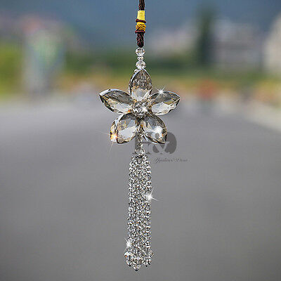 Crystal Gray Shining Flower Suncatcher Pendant Hanging Car Lucky Charm Gifts