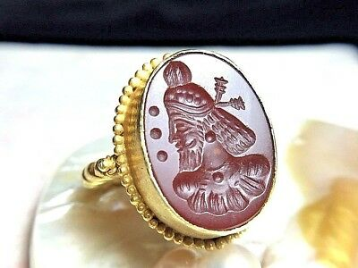 Ancient Carnelian Medieval Sultan King Intaglio 22K Genuine Gold Ring 8 Grams