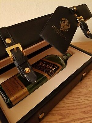 Johnnie Walker Blue Label Box Coffin Set w/ Luggage Tag