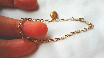 Antique 9Ct Gold Over Sterling Silver Heart Chain Bracelet  F15