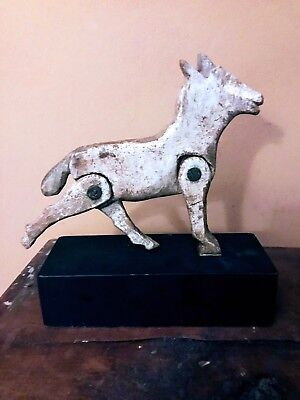 Antique Wood Carved Folk Art Whimsey or Toy of Horse with moveable legs-Unique