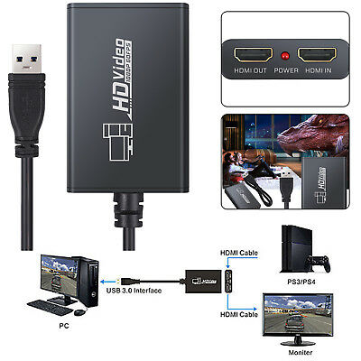 HD 1080 60fps USB 3.0 HDMI Video Game Capture Card Box Adapter For Windows PS3