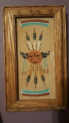 Native American Indian Navajo Artist Sand Painting framed Wood Signed 7.5 ×4.5