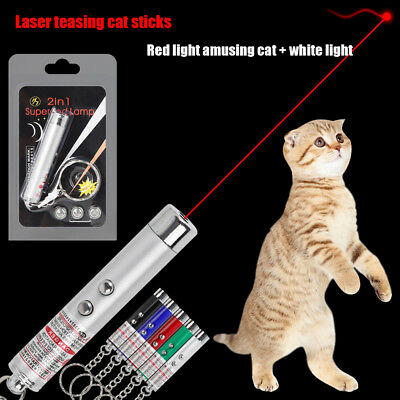2-in-1 Laser Lazer Pen Pointer Keychain Keyring With torch Cat Dog Toy UK M6C1S