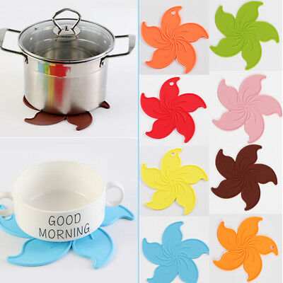 Silicone Flower Trivet Pad Mat For Pots Pans Insulated Durable Non Slip Coaster