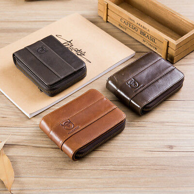 BULLCAPTAIN RFID Men Genuine Leather Antimagnetic  Card Slots Coin Wallet Purse