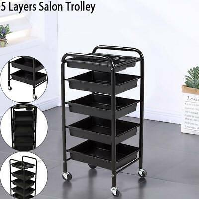 5 Layers Salon Trolley Hairdresser Coloring Hair Beauty Spa Rolling Storage Cart